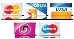Mastercard, Delta, Visa American Express, Solo, Maestro