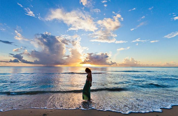Evening walk on beach