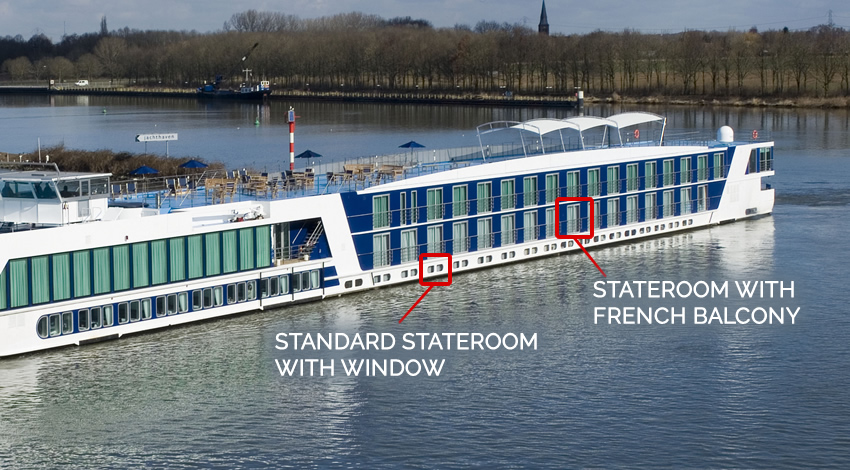 Image Shows Positioning of Staterooms on River Ship
