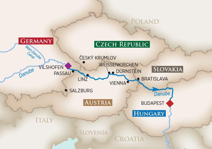 Romantic Danube Map