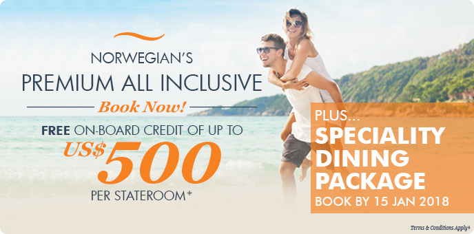 Norwegian Cruise Line $500 Onboard Credit + Speciality Dining