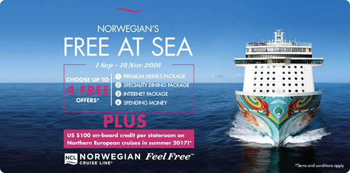 Norewegian Cruise Line Free at Sea