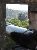 View from Edinburgh Castle with cannon