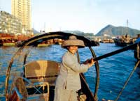 Far East woman on boat