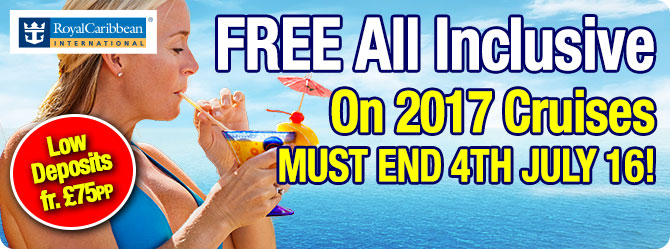 Royal Caribbean Cruises with All Inclusive Packages from just £75pp Deposit