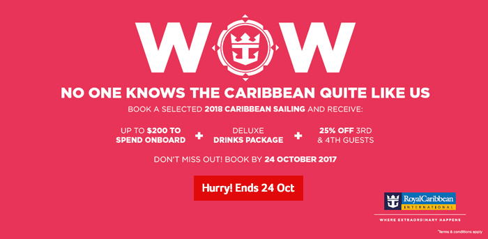 Royal Caribbean | WOW No one knows the Caribbean quite like us | Don't miss out, Book by 24th October
