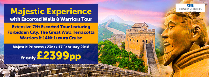 Majestic Princess with Walls & Warriors Escorted Tour fr £2399pp