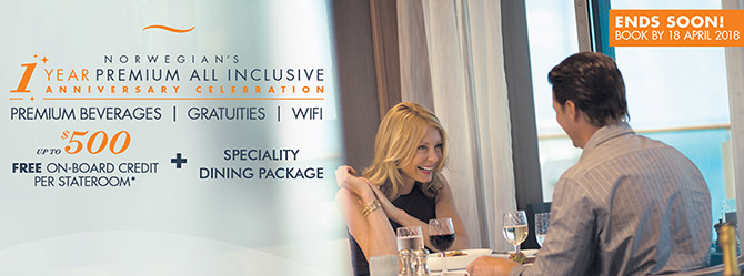 NCL UP TO $500 OBC plus speciality dining