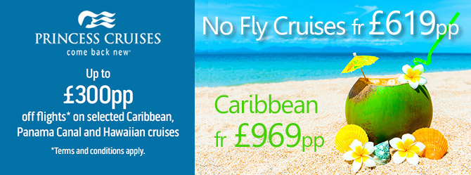 £300pp Off your flight on selected Caribbean, Panama & Hawaii Cruises